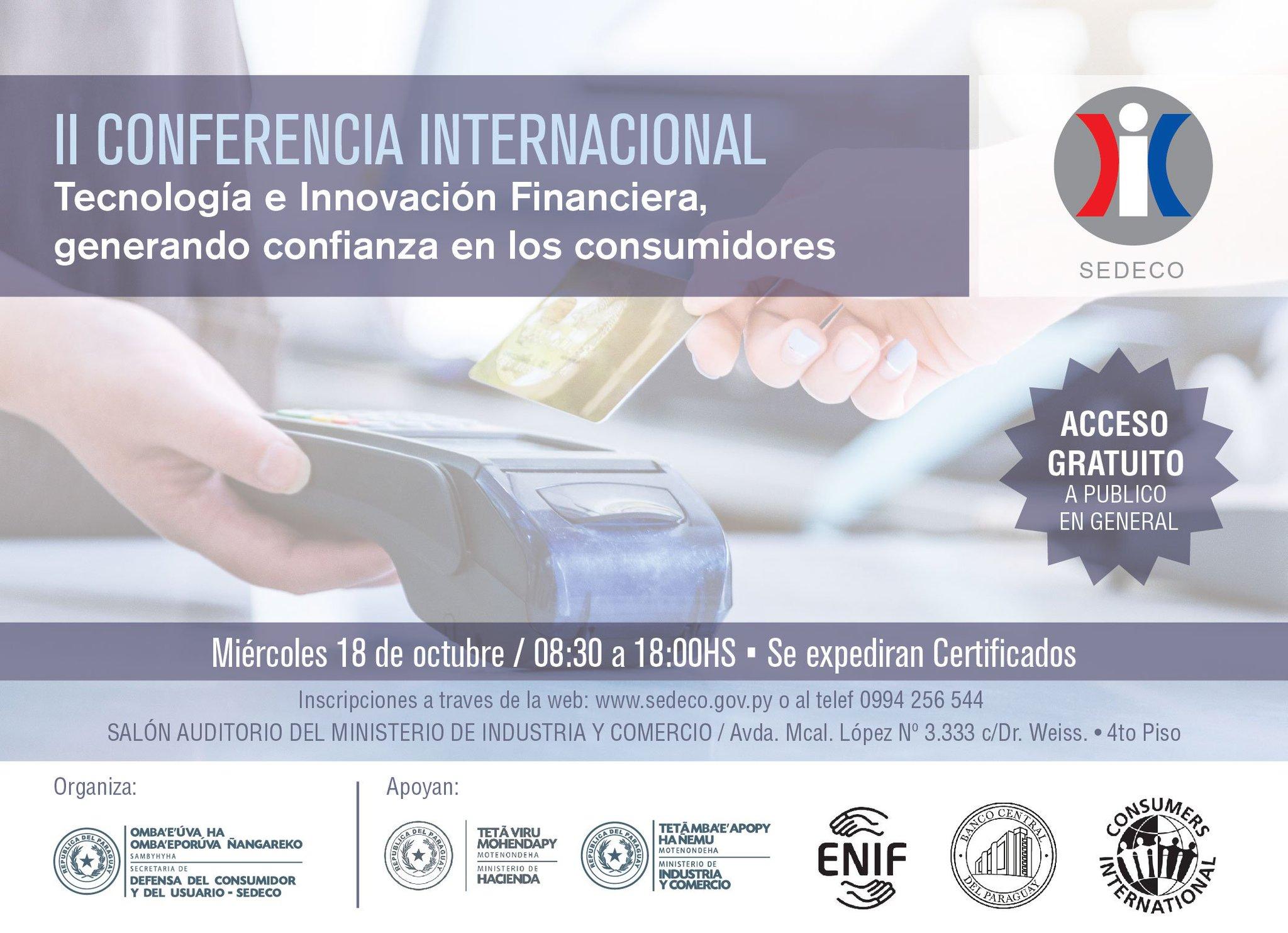 Flyer Conferencia Tecnologia e Innovacion Financiera, generando confianza en los consumidores